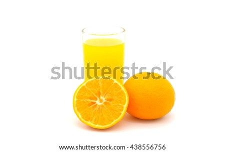 Orange juice and slices of orange isolated on white background
