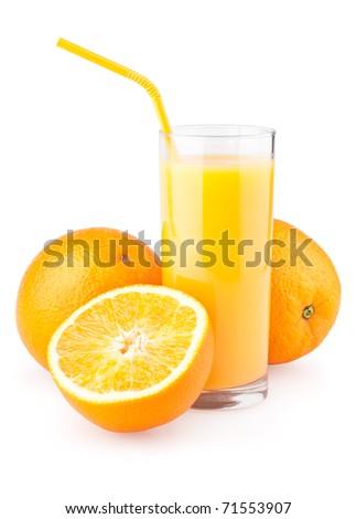 Orange juice and slices of orange isolated on white background - stock photo