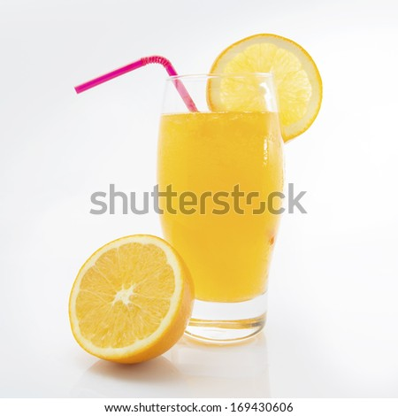 Orange juice and slices of orange isolated white background