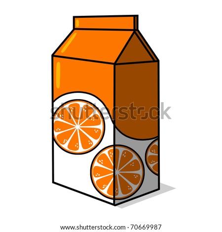 Orange Juice carton illustration; Juice box drawing - stock photo