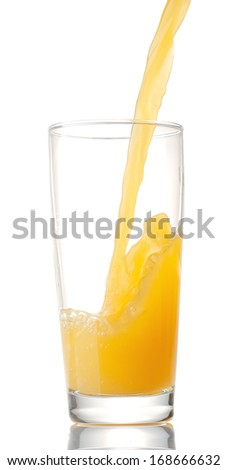 orange juice flows in a glass on a white background. isolated - stock photo