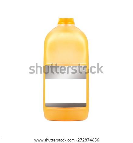 Orange juice gallon close-up isolated on white background - stock photo