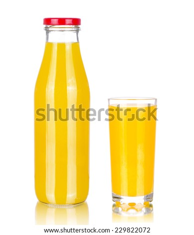 Orange juice glass bottle and glass of orange juise, isolated on white