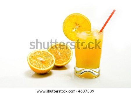 Orange juice in a  white background