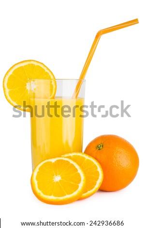 Orange juice in glass beaker with straw isolated on white background - stock photo