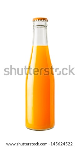 Orange juice in glass bottle isolated on white background - stock photo
