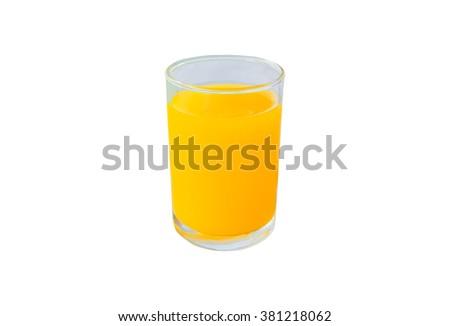 Orange juice in glass, Isolated on white background. - stock photo
