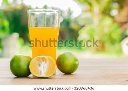 Orange juice in glass on table with nature view behind - stock photo