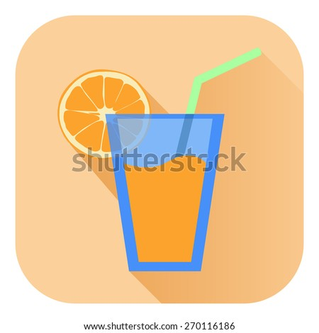 Orange juice in glass with orange slice. Raster version - stock photo