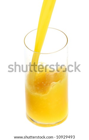 orange juice in high glass isolated on white
