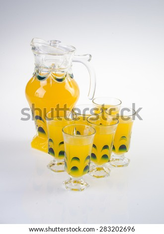 Orange juice in jar. on white background - stock photo