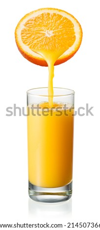 Orange juice is pouring into the glass. Isolated on white - stock photo
