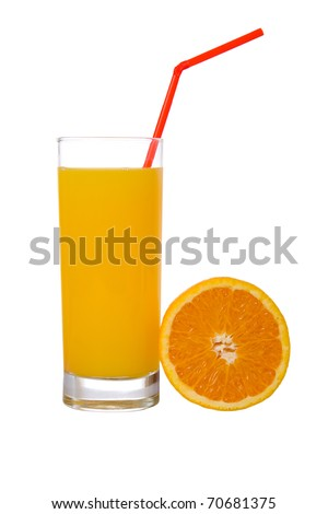Orange juice isolated on a white background - stock photo