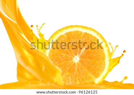 Orange juice isolated on white background - stock photo