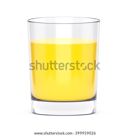 Orange juice or screw driver cocktail in glass isolated on white background. 3D illustration