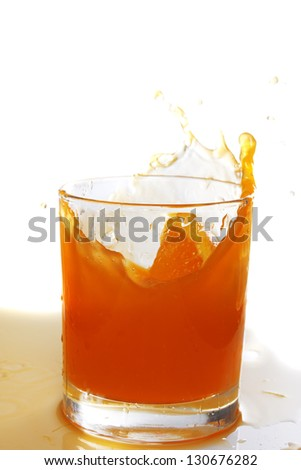 orange juice splash in the glass isolated on white