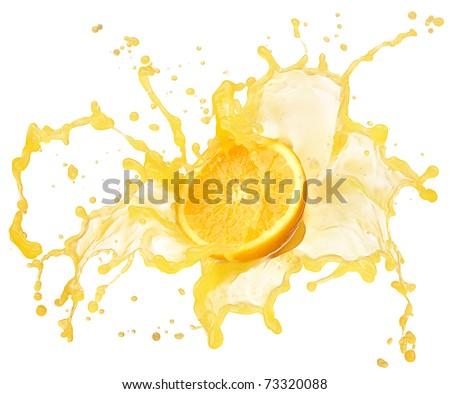 orange juice splash isolated on white - stock photo
