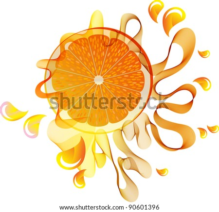 Orange juice splash with abstract wave over white