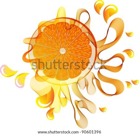 Orange juice splash with abstract wave over white - stock photo
