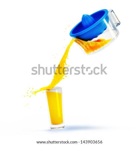 orange juice squeezed with juicer on a white background - stock photo