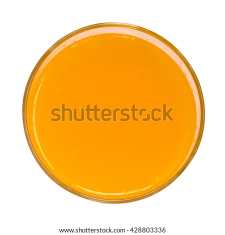 Orange juice top view isolated on white background - stock photo