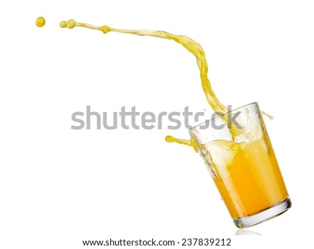 Orange juice up from a glass - stock photo
