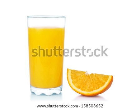 Orange juice with orange slice, isolated on white