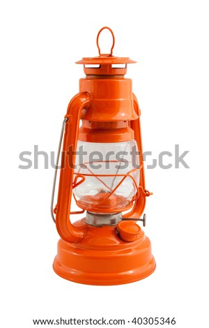 orange kerosene lamp isolated on white - stock photo