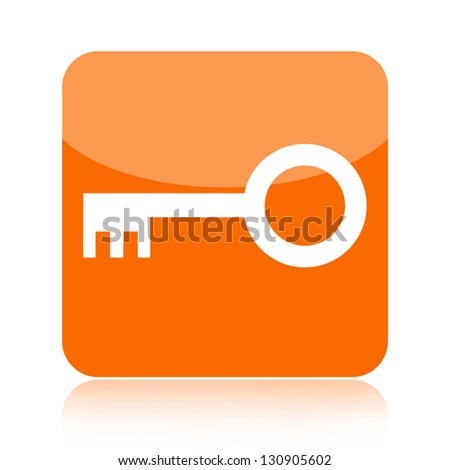 Orange key icon - stock photo