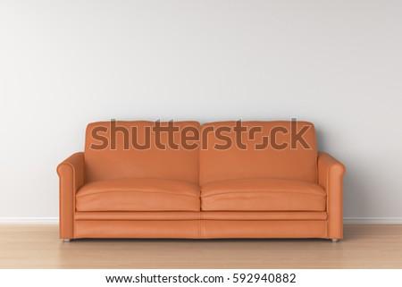 orange leather sofa in interior 3d render. Interior Design Ideas. Home Design Ideas