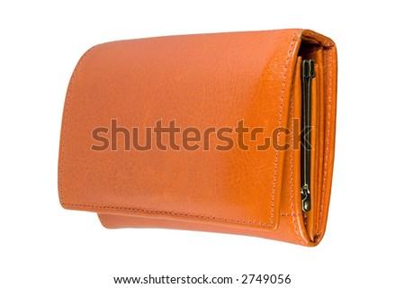 Orange leather Wallet isoalted on white background - stock photo