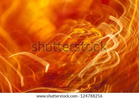 Orange light streaks abstract background - stock photo
