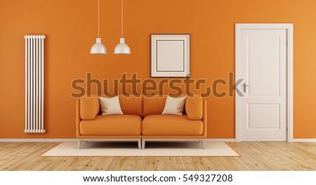 Orange living room with modern couchclosed door and vertical heater-3d rendering & Orange Living Room Modern Couchclosed Door Stock Illustration ...