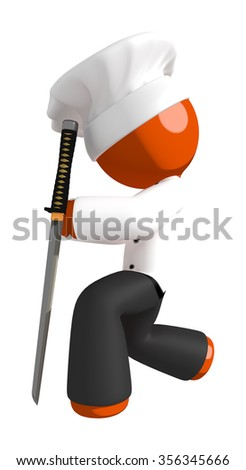 Orange Man Chef Bowing with Ninja Sword