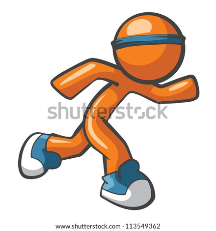 Orange Man running with blue shoes and headband, fast and agile. Sports and fast services concept, quite diverse. - stock photo