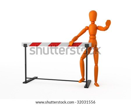 Orange mannequin and striped barrier. Isolated.
