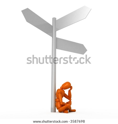 Orange mannequin at the crossroads - stock photo