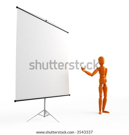 Orange mannequin  at the flip chart - stock photo