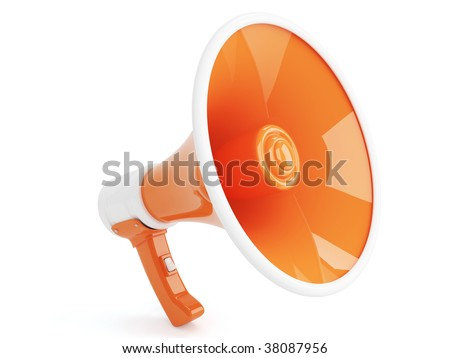 Orange Megaphone in Retro Style isolated on white background - stock photo