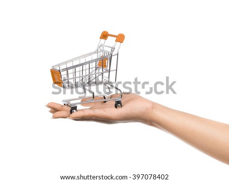 orange Metal trolleys for shopping Isolated on white background