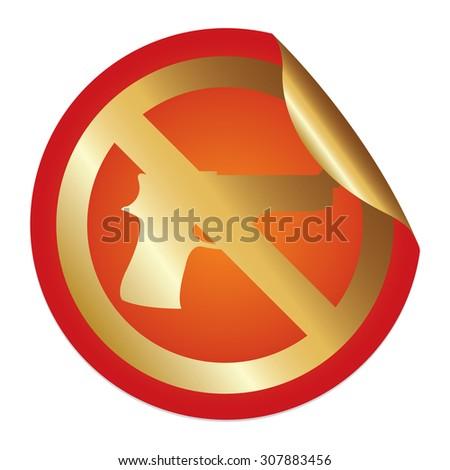 Orange Metallic No Gun Prohibited Sign Infographics Peeling Sticker, Icon or Label Isolated on White Background  - stock photo