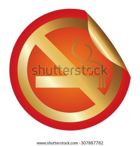 Orange Metallic No Smoking Prohibited Sign Infographics Peeling Sticker, Icon or Label Isolated on White Background  - stock photo