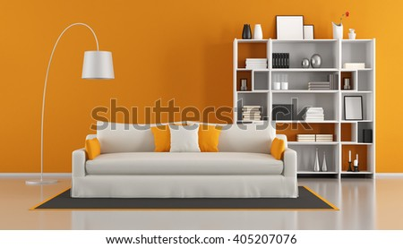 Orange modern living room with white sofa and bookcase - 3d rendering