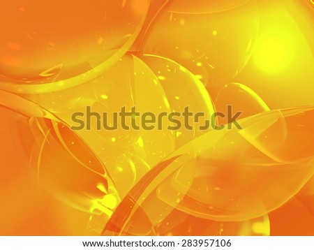 Orange modern three-dimensional abstract background with transparent bubbles. 1 - stock photo