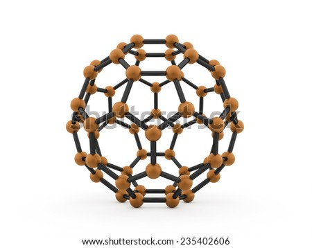 Orange molecular mesh tube structure rendered - stock photo