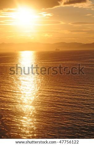 orange mystic sunset of sea of japan - stock photo