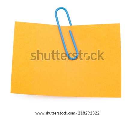 Orange Note with paper clip isolated clipping path - stock photo