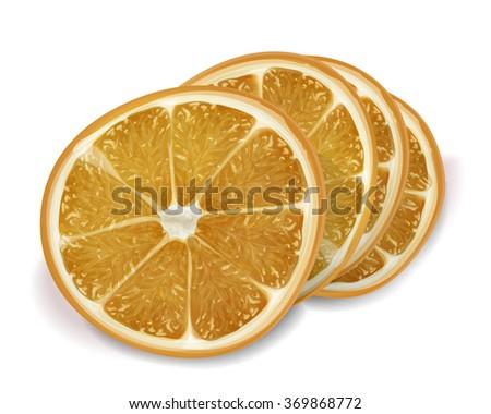 Orange of slices on white background. Isolated raster realistic orange - stock photo