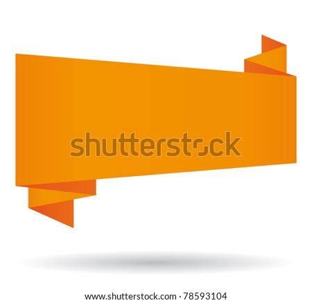 Orange origami speech bubble. - stock photo