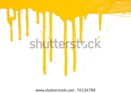 Orange paint  dripping / isolated on white background with copy space / real photo - stock photo